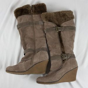 Bare Traps suede and faux fur wedge boots